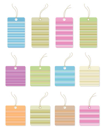Colorful gift tags with lines.