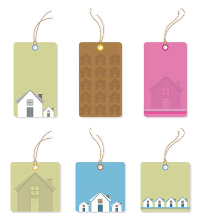Price tags with houses.