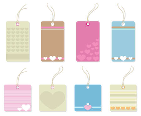Colorful tags with hearts.