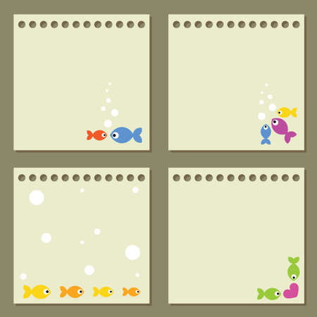 Four note papers with colorful fishes. Illustration