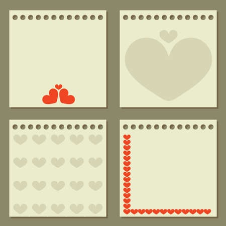 Four note papers with hearts