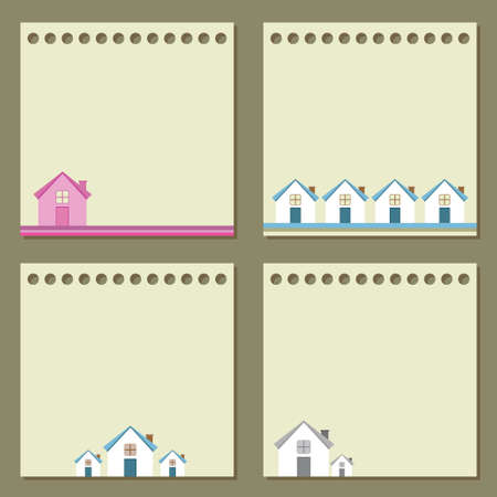 Four note papers with houses