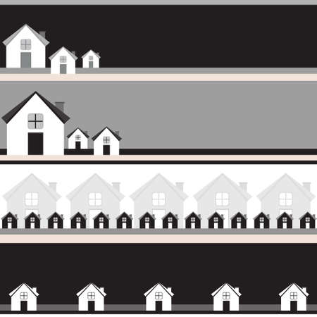 Four grayscale banners with houses  Illustration