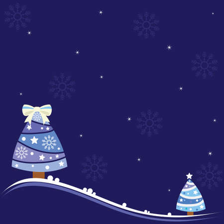 Christmas background with lovely trees, snowflakes and shiny stars
