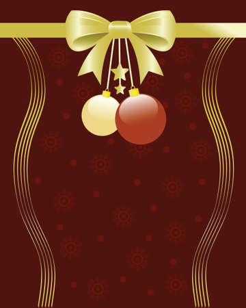 Christmas background illustration with bow, ornaments and snowflakes