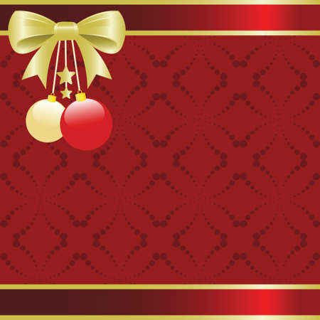 Christmas background illustration with a golden bow and ornaments