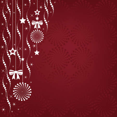 Christmas background illustration of hanging ornaments with a copy space  Illustration