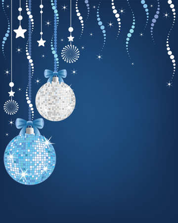 christmas background  with shiny disco balls and ornaments  Illustration