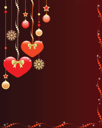 Christmas background with cute hearts and ornaments  Illustration