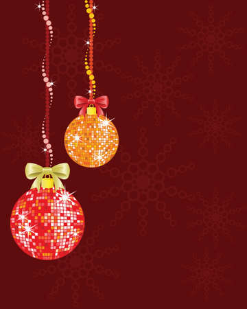 Christmas background with shiny disco balls, snowflakes and bows