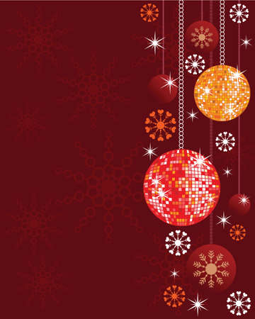 Background illustration with shiny disco balls, snowflakes and ornaments  Illustration