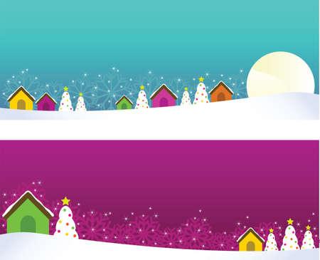 Christmas banners with houses and christmas trees  Illustration