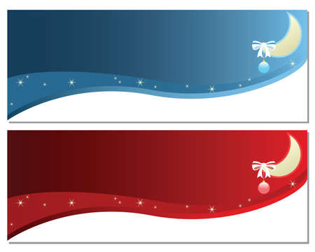 Banners with moon and ornaments for celebration concepts  Illustration