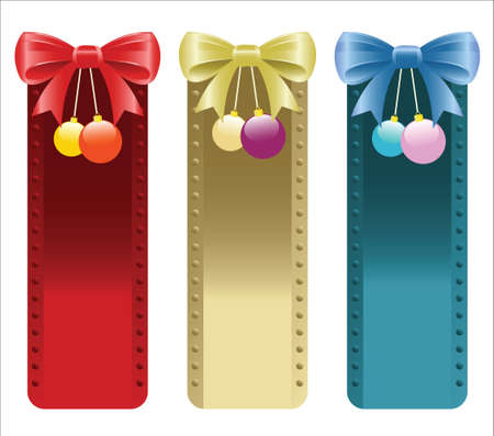 Christmas banners with bows and ornaments in red,gold and blue colors  Illustration