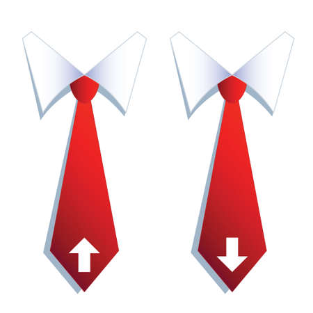 illustration of two businessman neckties with arrow symbols