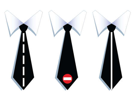 illustration of three businessman neck ties with road lines