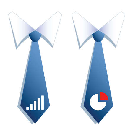 illustration of two businessman neckties with a graph and a chart  Vector