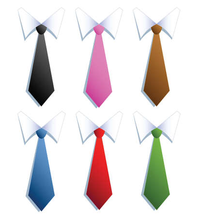 illustration of businessman neckties with six different colors