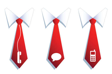illustration of three businessman neckties with communication symbols  Illustration