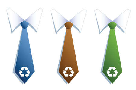 Three businessman neckties with recycle symbols