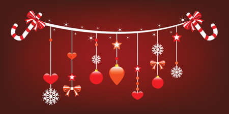 Christmas joy with cheerful hanging ornaments