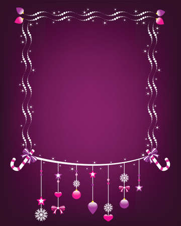 Shiny christmas frame with hanging ornaments  Illustration