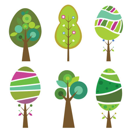 Collection of six cute and colorful trees Illustration