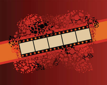 Film strip banner on spotted pattern