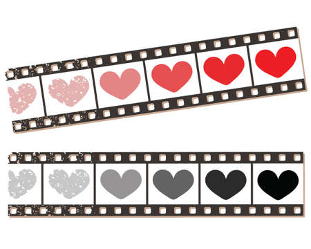 Film strip with hearts