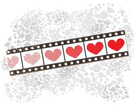 Film strip banner on spotted pattern with hearts  Vector
