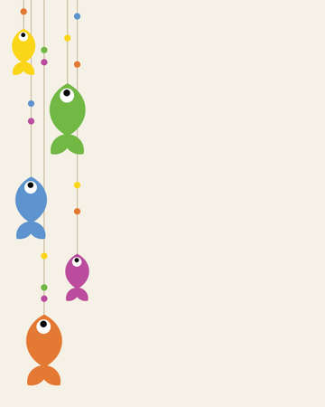 Cute background illustration with colorful fishes hanging  Illustration