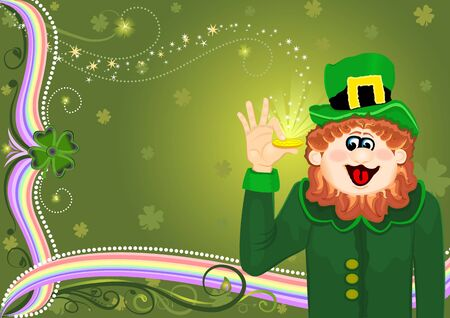 Raster illustration of Saint Patrick Leprechaun with golden coin Stock Illustration - 4452065