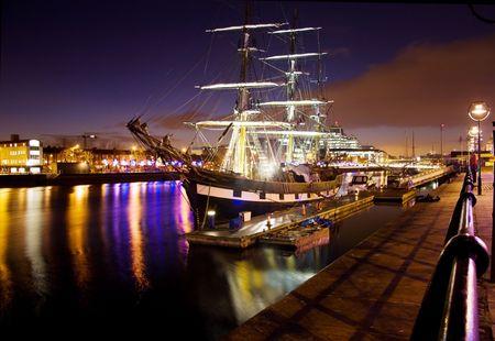 Old and New - famous sail ship anchored at Dublin harbor