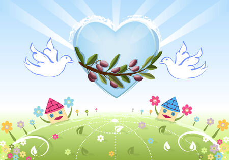 Peace and love to the World - white doves bringing a branch of olive tree to our homes and to the Earth. Raster illustration, vector file saved as AI8 also available. Vector
