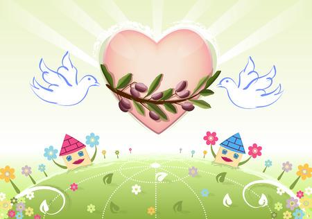 安らぎ: 白いハトとオリーブの木の枝と世界に愛と平和  イラスト・ベクター素材
