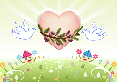 Peace and love to the World with white doves and olives tree branch Vector