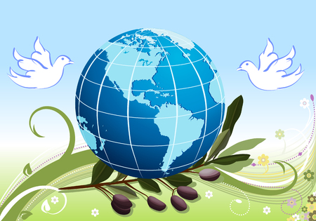 Peace to the World - white doves and olives tree branch Vector