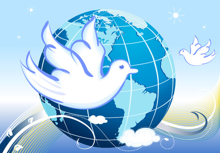 Vector Peace to the World with white doves  Vector