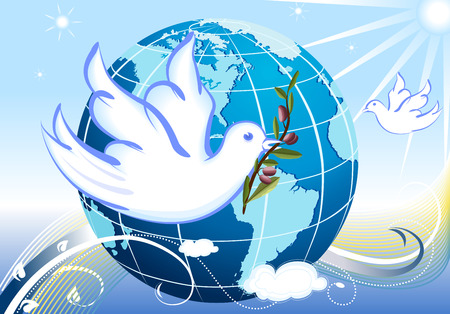 nuclear war: Vector Peace to the Earth with white doves Illustration