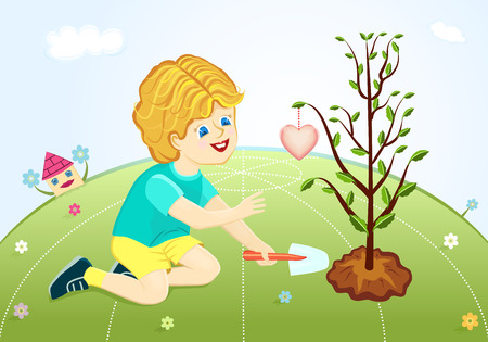 planting a tree: Save our green planet - boy planting love tree