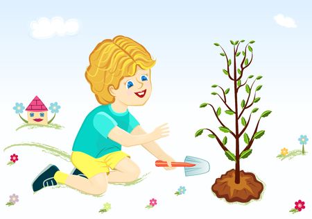 Save the world forest - boy planting tree.  Vector