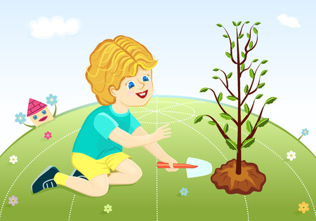 Save our green planet - cute boy planting tree. Vector