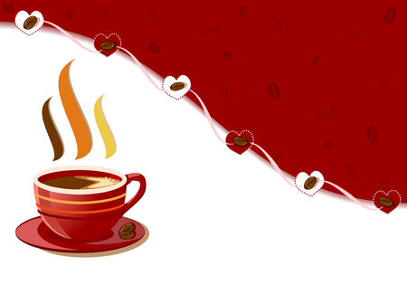 Aromatic and fresh cup of coffee with hearts design Vector