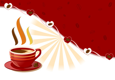 Aromatic and fresh cup of coffee with burst of rays Vector