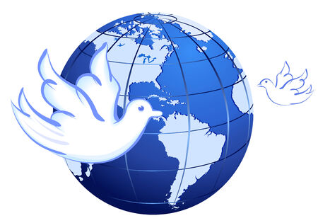 Vector Peace to the Earth with doves over white Vector