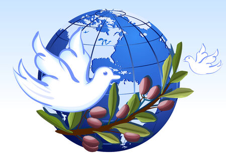 Vector Peace to the World with white doves and olives tree branch.  Illustration