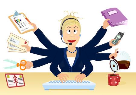 secretaria: El estr�s y m�ltiples tareas en la oficina - ilustraci�n vectorial