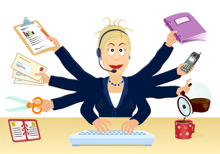overwhelmed: Stress and multitasking at the office - Vector illustration