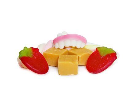gula: Concepto gula - dentadura comer caramelos dulces