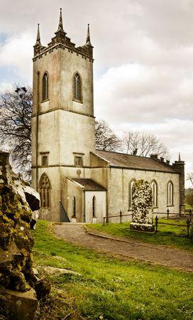 hill of tara: Old St Patrick Church on the historic Hill of Tara (Teamhair Na Ri) in Ireland Stock Photo